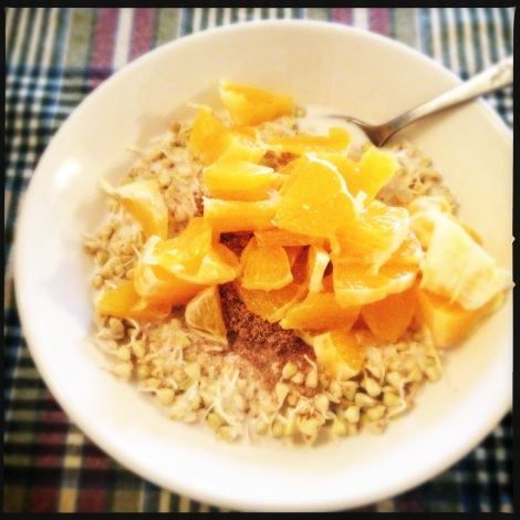 sprouted buckwheat with diced orange