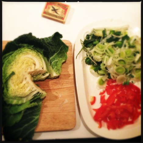 cabbage, prei and red pepper
