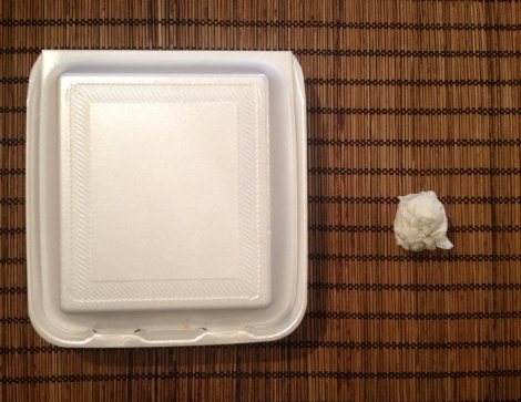 Left: profuse polystyrene of a Davanni's veggie hoagie.  Right: nimble wrapper of a veggie banh mi sandwich from My Huong